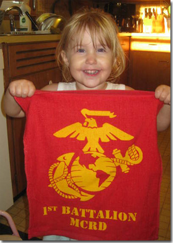 Gracie with 1st Battalion rally towel