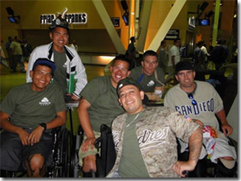 Wounded Warrior Michael with his Buddies at a Padres Game